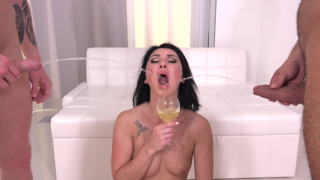 LegalPorno - Vira Gold Films - First DAP 4 on 1 for Eva Black with DP, Balls Deep Anal, Pee Drink, Gapes and Cum in Mouth VG016